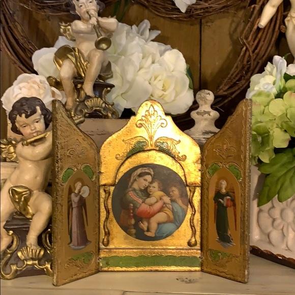 Vintage Triptych Italian Florentine Madonna/child